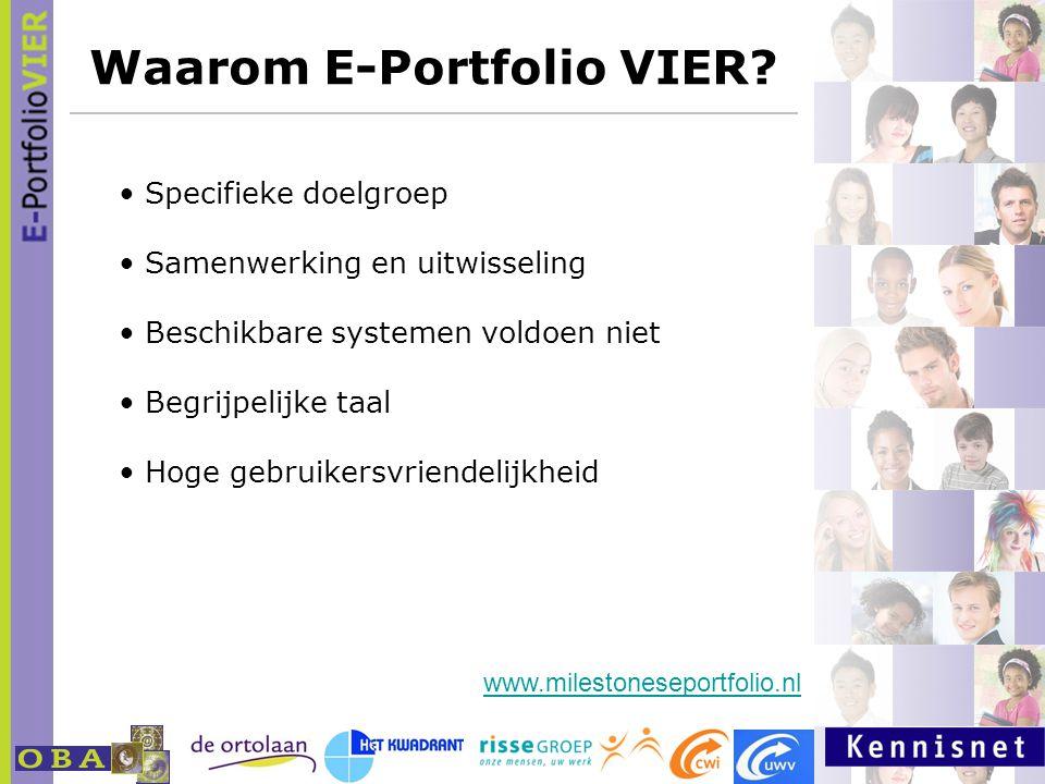 Waarom E-Portfolio VIER? www.milestoneseportfolio.nl Specifieke doelgroep Samenwerking en uitwisseling Beschikbare systemen voldoen niet Begrijpelijke
