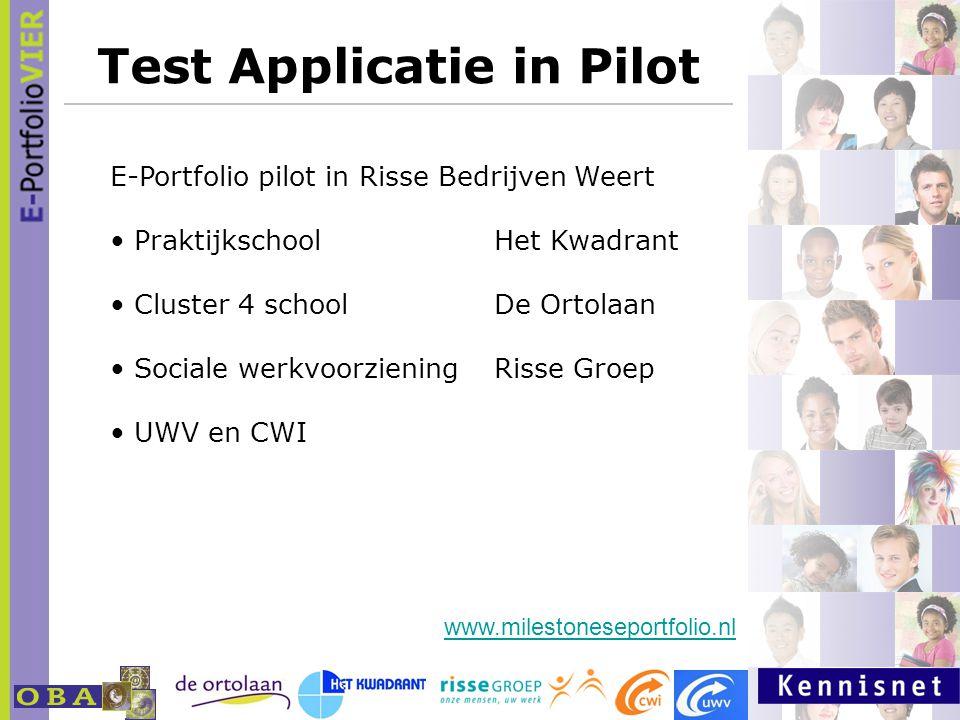 Test Applicatie in Pilot E-Portfolio pilot in Risse Bedrijven Weert PraktijkschoolHet Kwadrant Cluster 4 schoolDe Ortolaan Sociale werkvoorzieningRiss