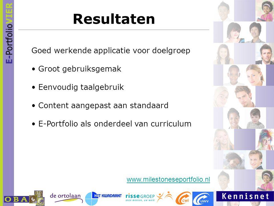 Resultaten www.milestoneseportfolio.nl Goed werkende applicatie voor doelgroep Groot gebruiksgemak Eenvoudig taalgebruik Content aangepast aan standaa