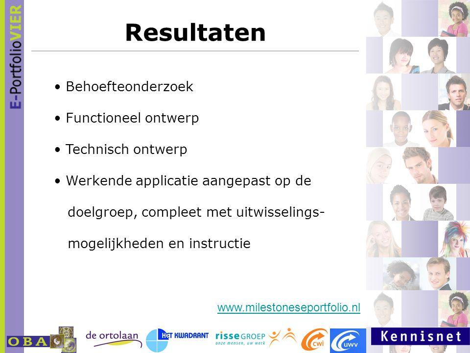 Resultaten Behoefteonderzoek Functioneel ontwerp Technisch ontwerp Werkende applicatie aangepast op de doelgroep, compleet met uitwisselings- mogelijkheden en instructie www.milestoneseportfolio.nl