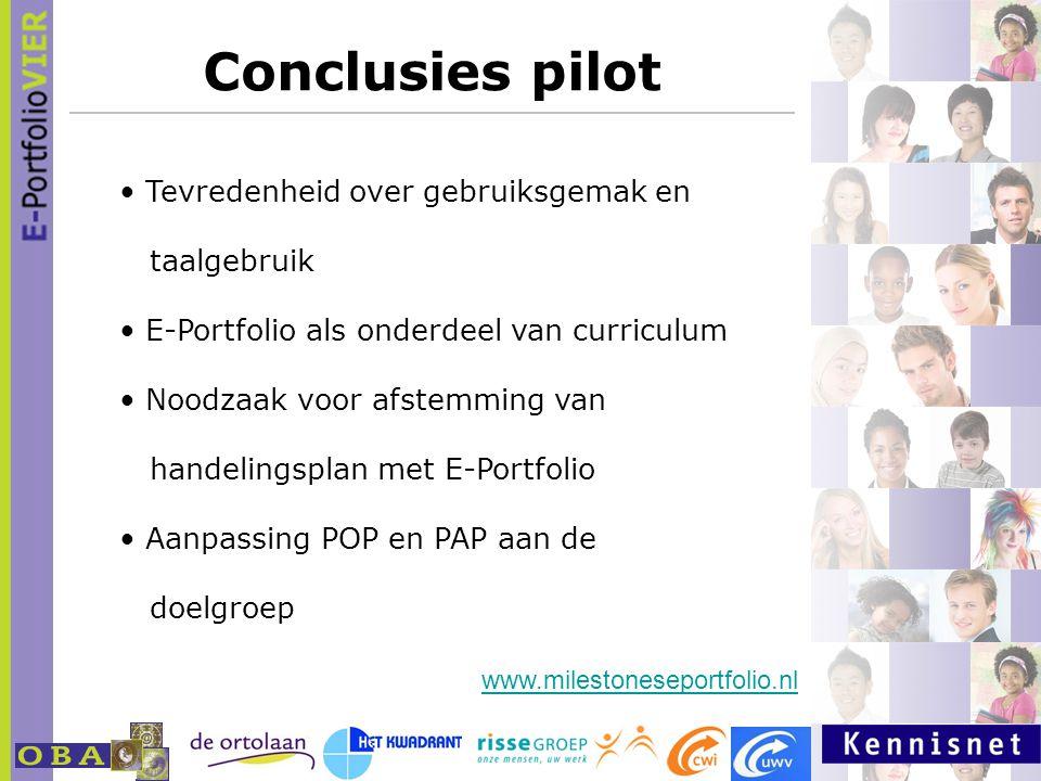 Conclusies pilot Tevredenheid over gebruiksgemak en taalgebruik E-Portfolio als onderdeel van curriculum Noodzaak voor afstemming van handelingsplan met E-Portfolio Aanpassing POP en PAP aan de doelgroep www.milestoneseportfolio.nl