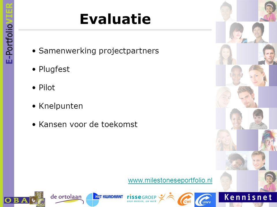 Evaluatie Samenwerking projectpartners Plugfest Pilot Knelpunten Kansen voor de toekomst www.milestoneseportfolio.nl