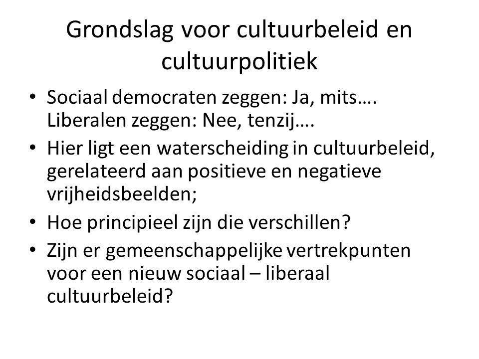 Grondslag voor cultuurbeleid en cultuurpolitiek Sociaal democraten zeggen: Ja, mits…. Liberalen zeggen: Nee, tenzij…. Hier ligt een waterscheiding in