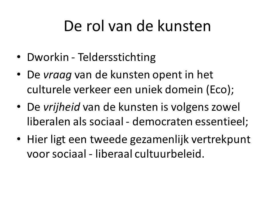 De rol van de kunsten Dworkin - Teldersstichting De vraag van de kunsten opent in het culturele verkeer een uniek domein (Eco); De vrijheid van de kun
