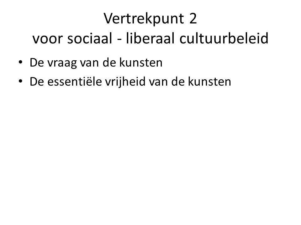 Vertrekpunt 2 voor sociaal - liberaal cultuurbeleid De vraag van de kunsten De essentiële vrijheid van de kunsten