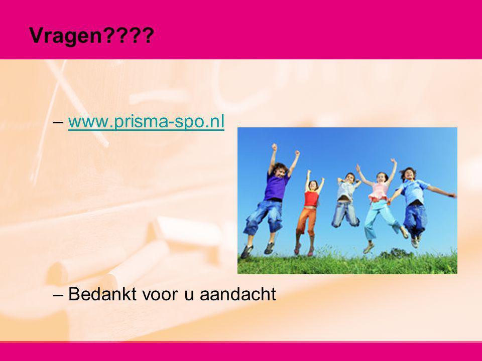 Vragen???? –www.prisma-spo.nlwww.prisma-spo.nl –Bedankt voor u aandacht