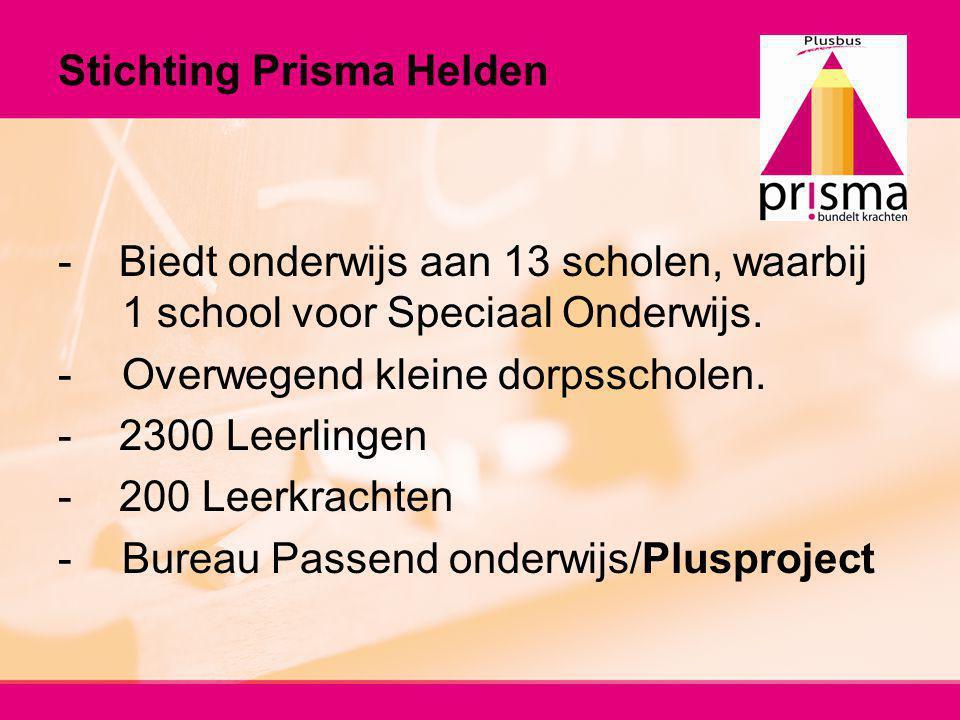 Stichting Prisma Helden - Biedt onderwijs aan 13 scholen, waarbij 1 school voor Speciaal Onderwijs. -Overwegend kleine dorpsscholen. - 2300 Leerlingen