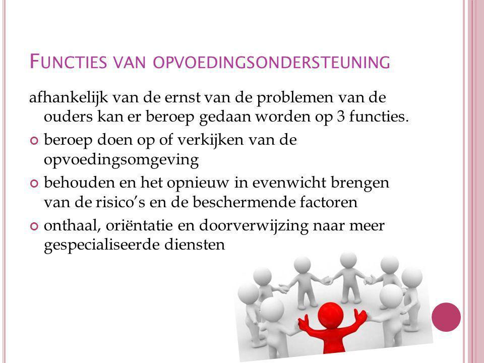 F UNCTIES VAN OPVOEDINGSONDERSTEUNING afhankelijk van de ernst van de problemen van de ouders kan er beroep gedaan worden op 3 functies.