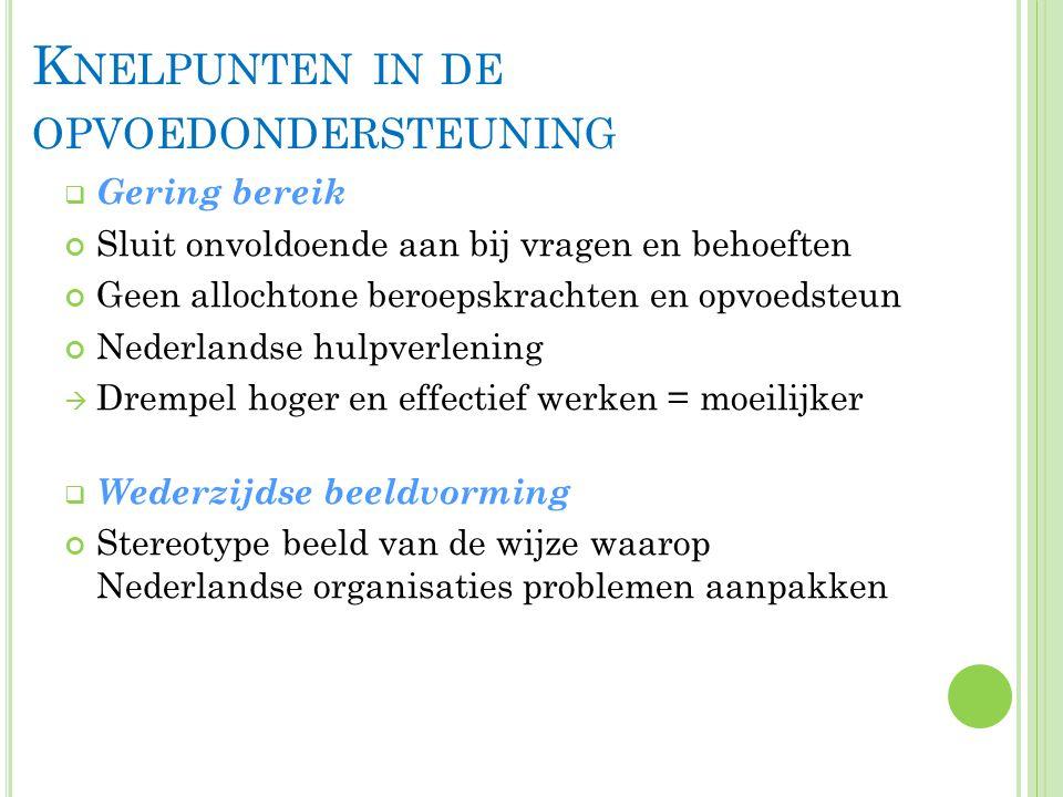 K NELPUNTEN IN DE OPVOEDONDERSTEUNING  Gering bereik Sluit onvoldoende aan bij vragen en behoeften Geen allochtone beroepskrachten en opvoedsteun Nederlandse hulpverlening  Drempel hoger en effectief werken = moeilijker  Wederzijdse beeldvorming Stereotype beeld van de wijze waarop Nederlandse organisaties problemen aanpakken