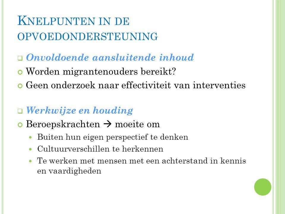 K NELPUNTEN IN DE OPVOEDONDERSTEUNING  Onvoldoende aansluitende inhoud Worden migrantenouders bereikt.