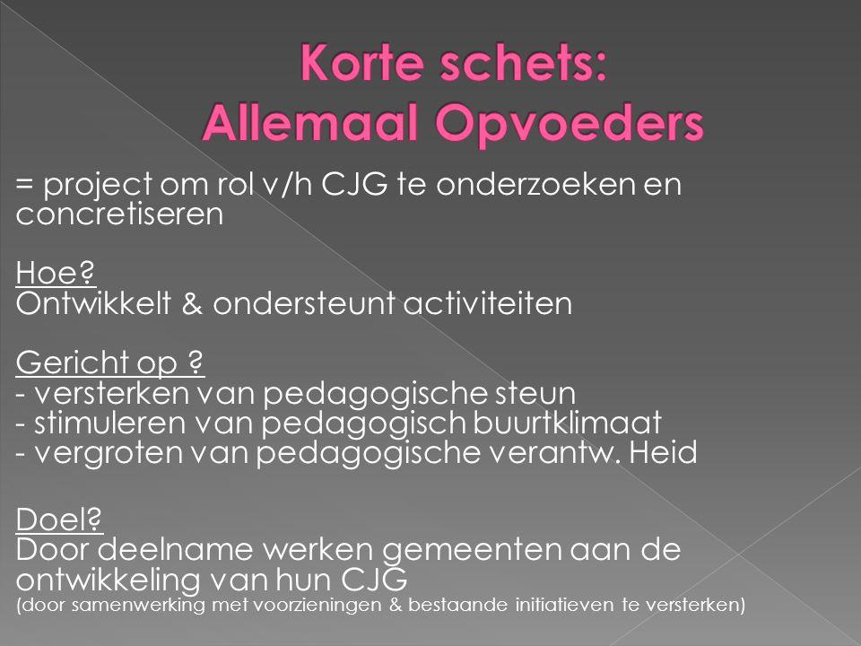 = project om rol v/h CJG te onderzoeken en concretiseren Hoe? Ontwikkelt & ondersteunt activiteiten Gericht op ? - versterken van pedagogische steun -
