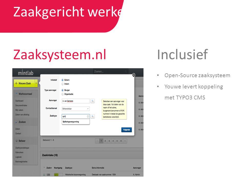 Zaakgericht werken Zaaksysteem.nl Open-Source zaaksysteem Youwe levert koppeling met TYPO3 CMS Inclusief