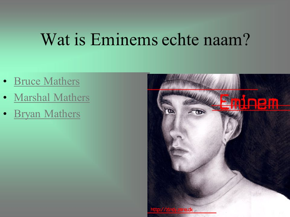 Wat is Eminems echte naam? Bruce Mathers Marshal Mathers Bryan Mathers