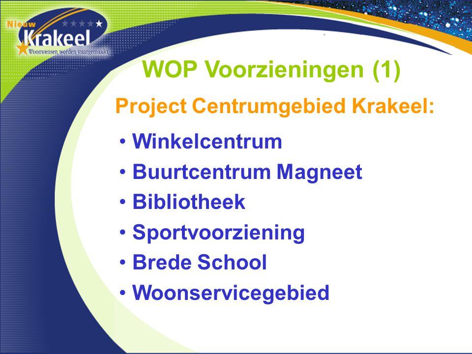 WOP Voorzieningen (1) Winkelcentrum Buurtcentrum Magneet Bibliotheek Sportvoorziening Brede School Woonservicegebied Project Centrumgebied Krakeel:
