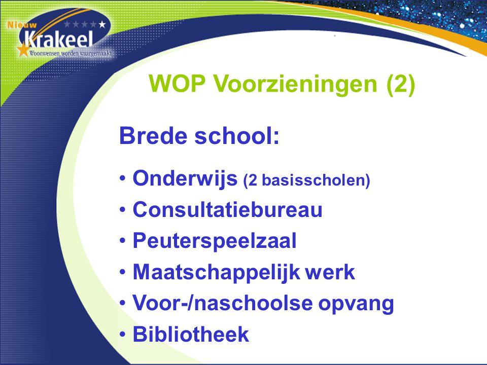 WOP Voorzieningen (2) Onderwijs (2 basisscholen) Consultatiebureau Peuterspeelzaal Maatschappelijk werk Voor-/naschoolse opvang Bibliotheek Brede school: