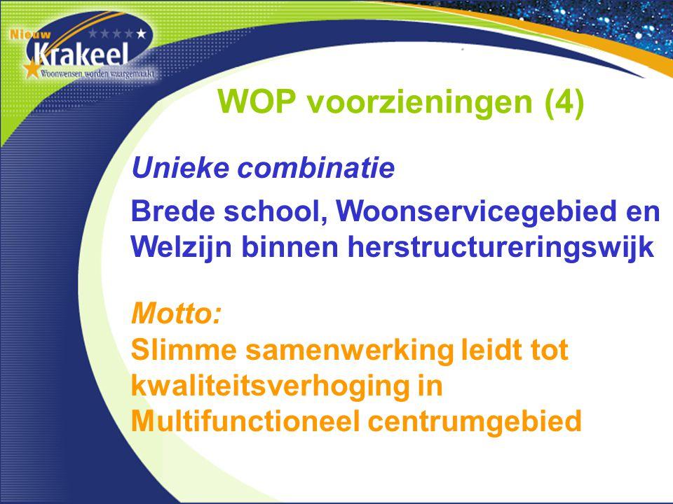 WOP voorzieningen (4) Unieke combinatie Brede school, Woonservicegebied en Welzijn binnen herstructureringswijk Motto: Slimme samenwerking leidt tot k