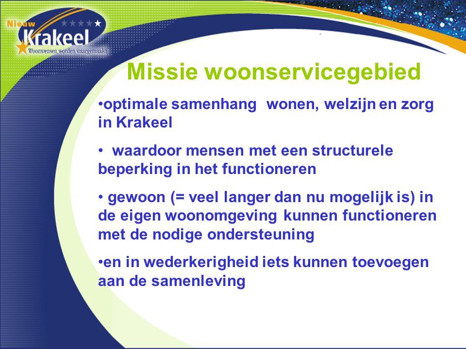 Missie woonservicegebied optimale samenhang wonen, welzijn en zorg in Krakeel waardoor mensen met een structurele beperking in het functioneren gewoon