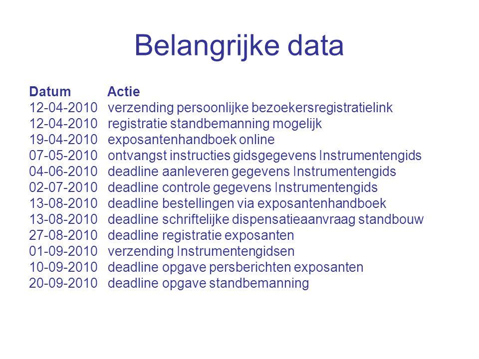 Belangrijke data Datum Actie 12-04-2010 verzending persoonlijke bezoekersregistratielink 12-04-2010 registratie standbemanning mogelijk 19-04-2010 exposantenhandboek online 07-05-2010 ontvangst instructies gidsgegevens Instrumentengids 04-06-2010 deadline aanleveren gegevens Instrumentengids 02-07-2010 deadline controle gegevens Instrumentengids 13-08-2010 deadline bestellingen via exposantenhandboek 13-08-2010 deadline schriftelijke dispensatieaanvraag standbouw 27-08-2010 deadline registratie exposanten 01-09-2010 verzending Instrumentengidsen 10-09-2010 deadline opgave persberichten exposanten 20-09-2010 deadline opgave standbemanning
