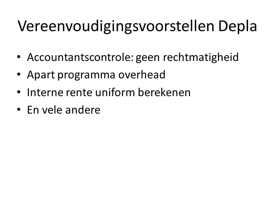 Vereenvoudigingsvoorstellen Depla Accountantscontrole: geen rechtmatigheid Apart programma overhead Interne rente uniform berekenen En vele andere
