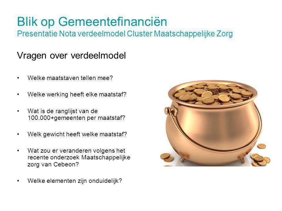 Blik op Gemeentefinanciën Presentatie Nota verdeelmodel Cluster Maatschappelijke Zorg Vragen over verdeelmodel Welke maatstaven tellen mee? Welke werk