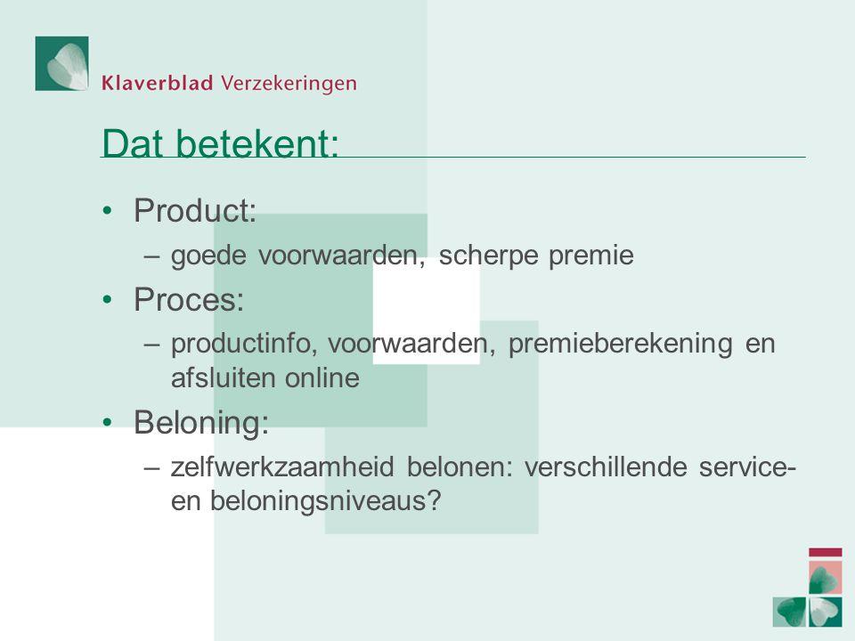 Dat betekent: Product: –goede voorwaarden, scherpe premie Proces: –productinfo, voorwaarden, premieberekening en afsluiten online Beloning: –zelfwerkzaamheid belonen: verschillende service- en beloningsniveaus