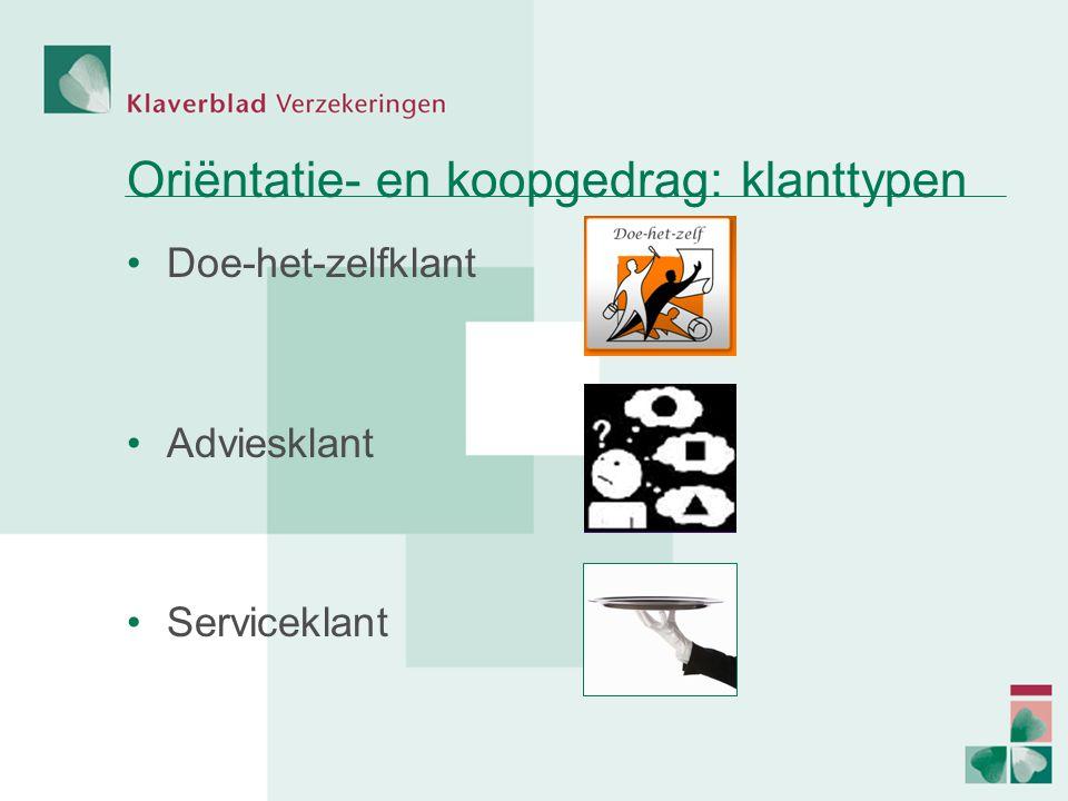 Oriëntatie- en koopgedrag: klanttypen Doe-het-zelfklant Adviesklant Serviceklant
