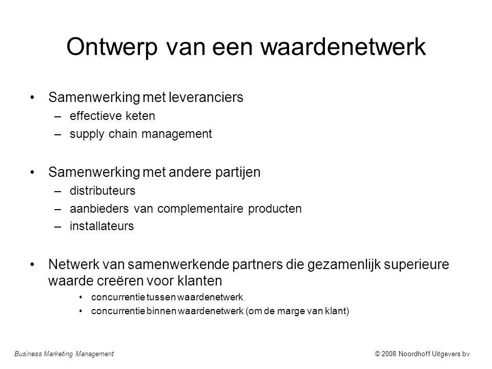 Business Marketing Management© 2008 Noordhoff Uitgevers bv Ontwerp van een waardenetwerk Samenwerking met leveranciers –effectieve keten –supply chain
