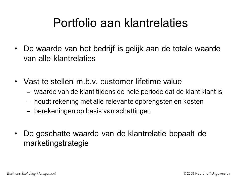Business Marketing Management© 2008 Noordhoff Uitgevers bv Portfolio aan klantrelaties De waarde van het bedrijf is gelijk aan de totale waarde van al