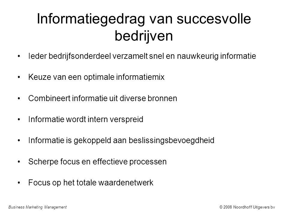 Business Marketing Management© 2008 Noordhoff Uitgevers bv Informatiegedrag van succesvolle bedrijven Ieder bedrijfsonderdeel verzamelt snel en nauwke