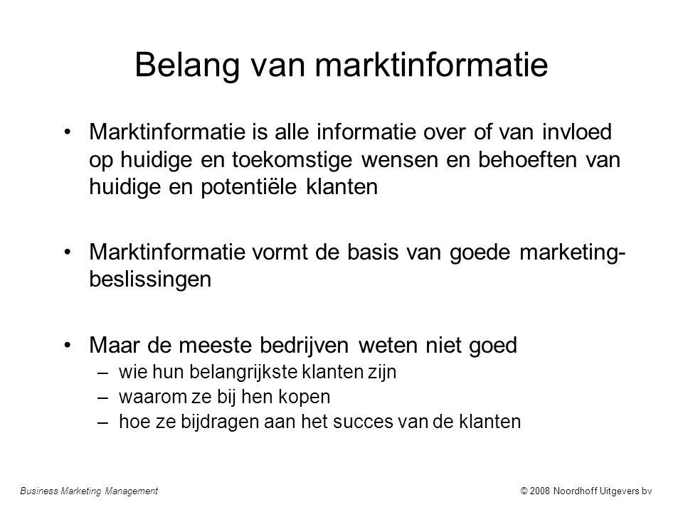 Business Marketing Management© 2008 Noordhoff Uitgevers bv Gebruik van marktinformatie Marktinformatie wordt gesorteerd, gecombineerd, geanalyseerd en geïnterpreteerd –belangrijke invloed van bedrijfscultuur en beschikbare infrastructuur (bijv.