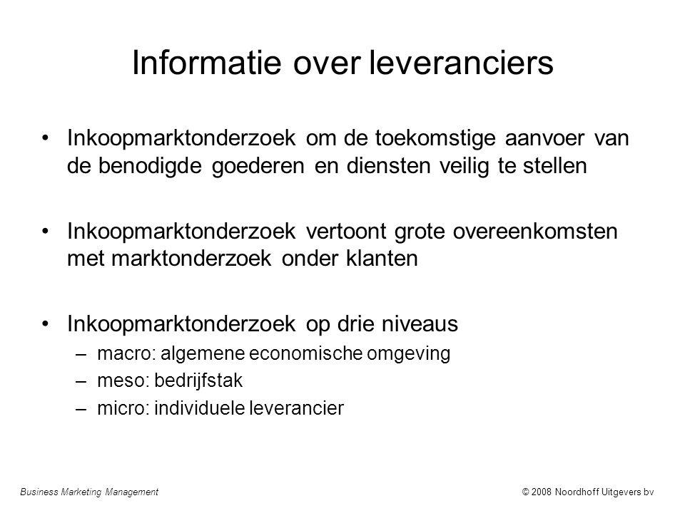 Business Marketing Management© 2008 Noordhoff Uitgevers bv Informatie over leveranciers Inkoopmarktonderzoek om de toekomstige aanvoer van de benodigd