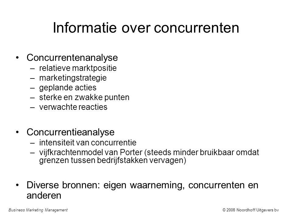 Business Marketing Management© 2008 Noordhoff Uitgevers bv Informatie over concurrenten Concurrentenanalyse –relatieve marktpositie –marketingstrategi