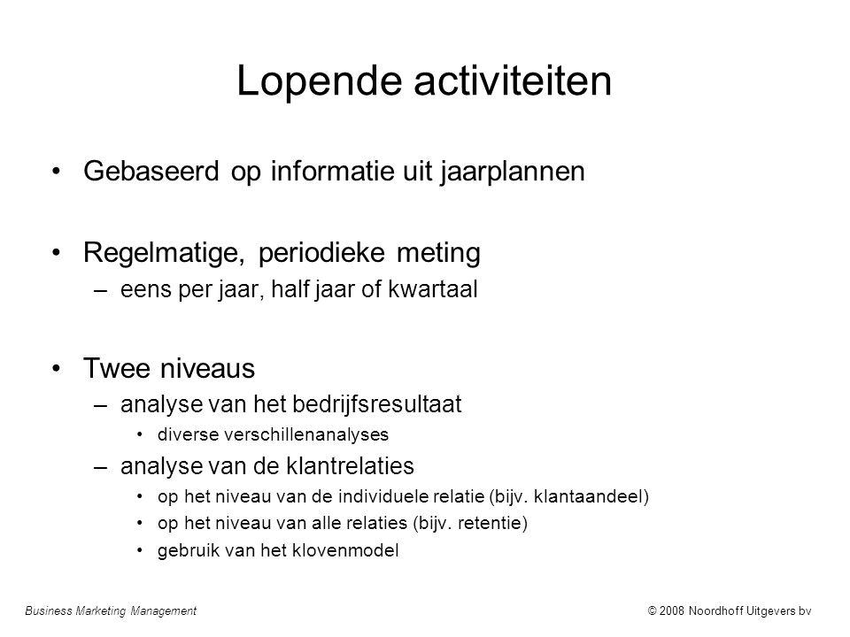 Business Marketing Management© 2008 Noordhoff Uitgevers bv Lopende activiteiten Gebaseerd op informatie uit jaarplannen Regelmatige, periodieke meting