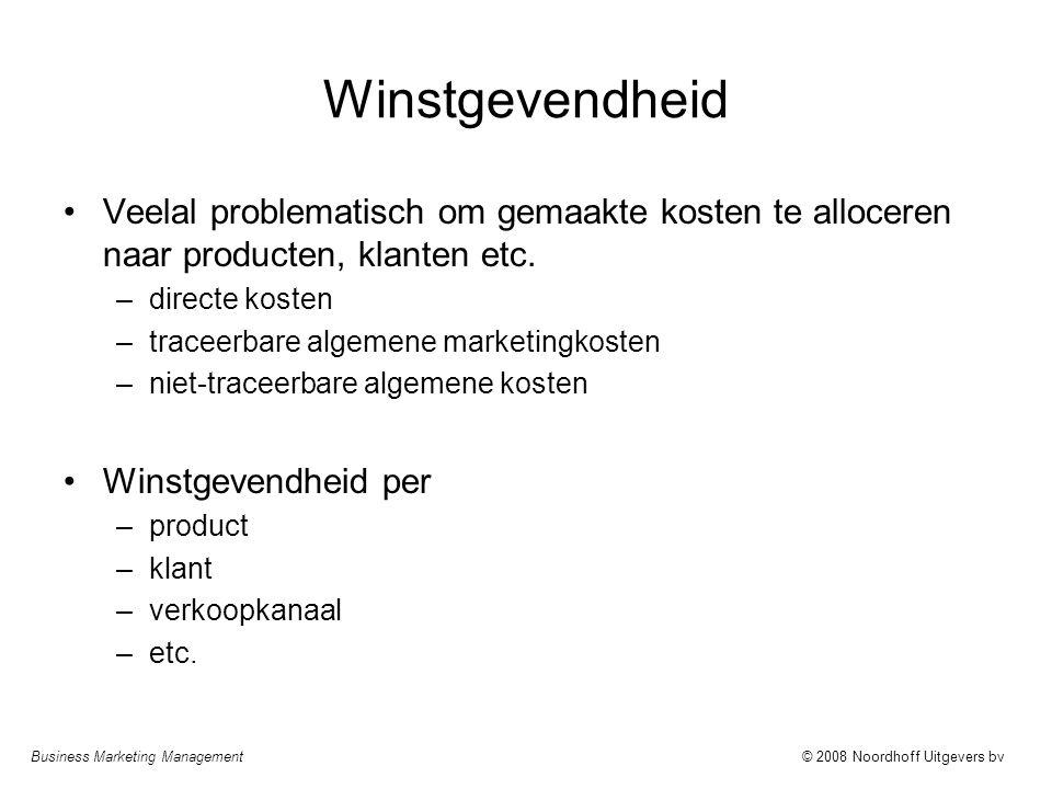 Business Marketing Management© 2008 Noordhoff Uitgevers bv Winstgevendheid Veelal problematisch om gemaakte kosten te alloceren naar producten, klante