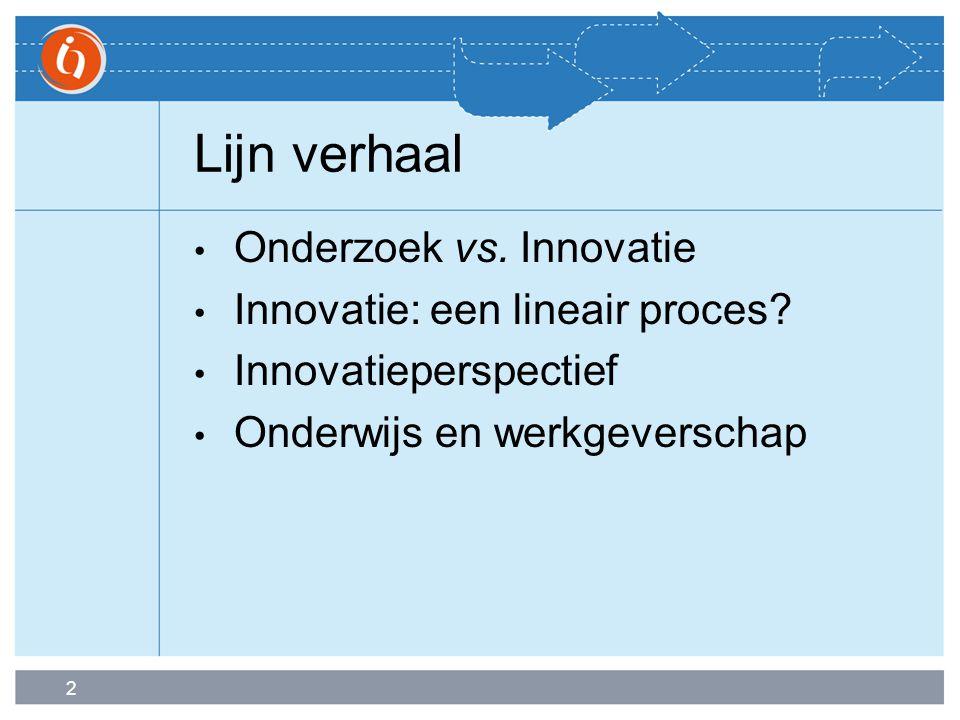 2 Lijn verhaal Onderzoek vs. Innovatie Innovatie: een lineair proces? Innovatieperspectief Onderwijs en werkgeverschap