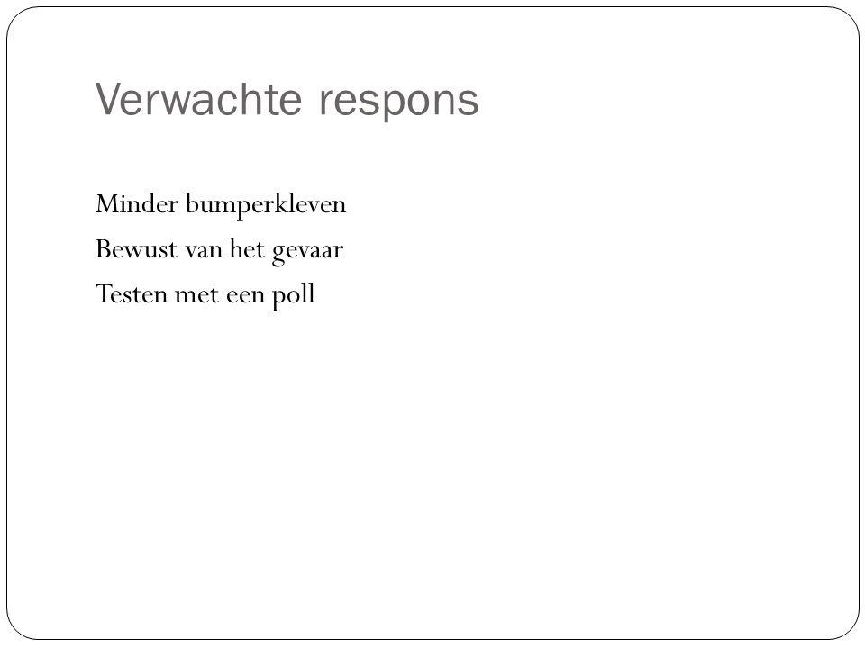 Verwachte respons Minder bumperkleven Bewust van het gevaar Testen met een poll