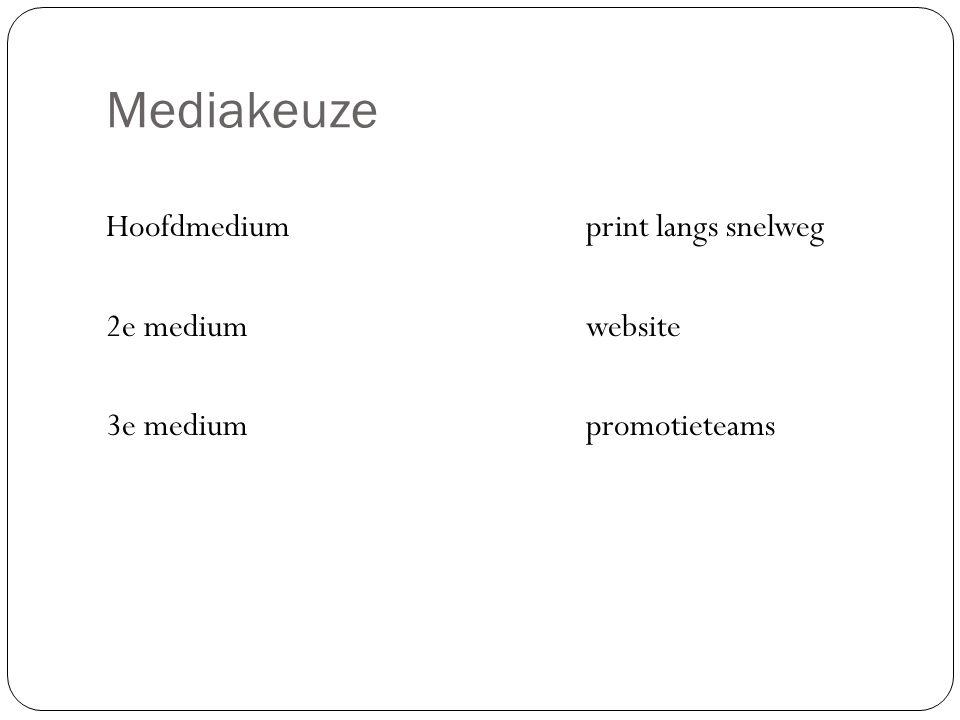 Mediakeuze Hoofdmedium print langs snelweg 2e mediumwebsite 3e mediumpromotieteams