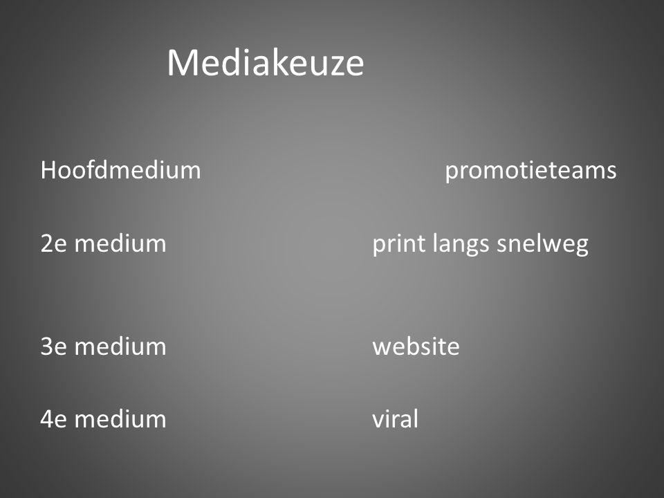 Mediakeuze Hoofdmedium promotieteams 2e mediumprint langs snelweg 3e mediumwebsite 4e mediumviral