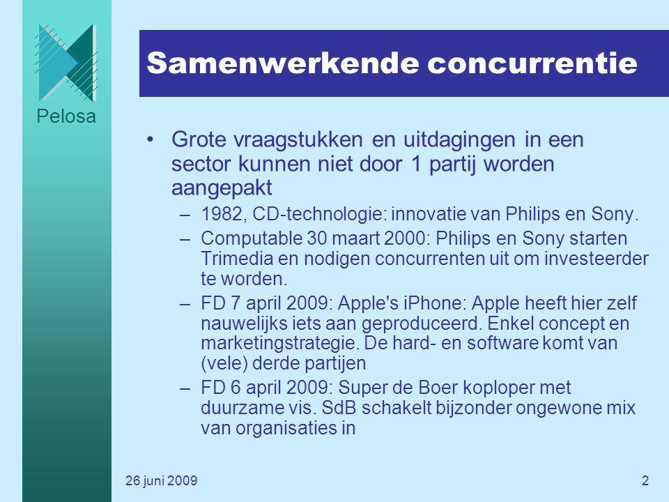 Pelosa 26 juni 20092 Samenwerkende concurrentie Grote vraagstukken en uitdagingen in een sector kunnen niet door 1 partij worden aangepakt –1982, CD-technologie: innovatie van Philips en Sony.