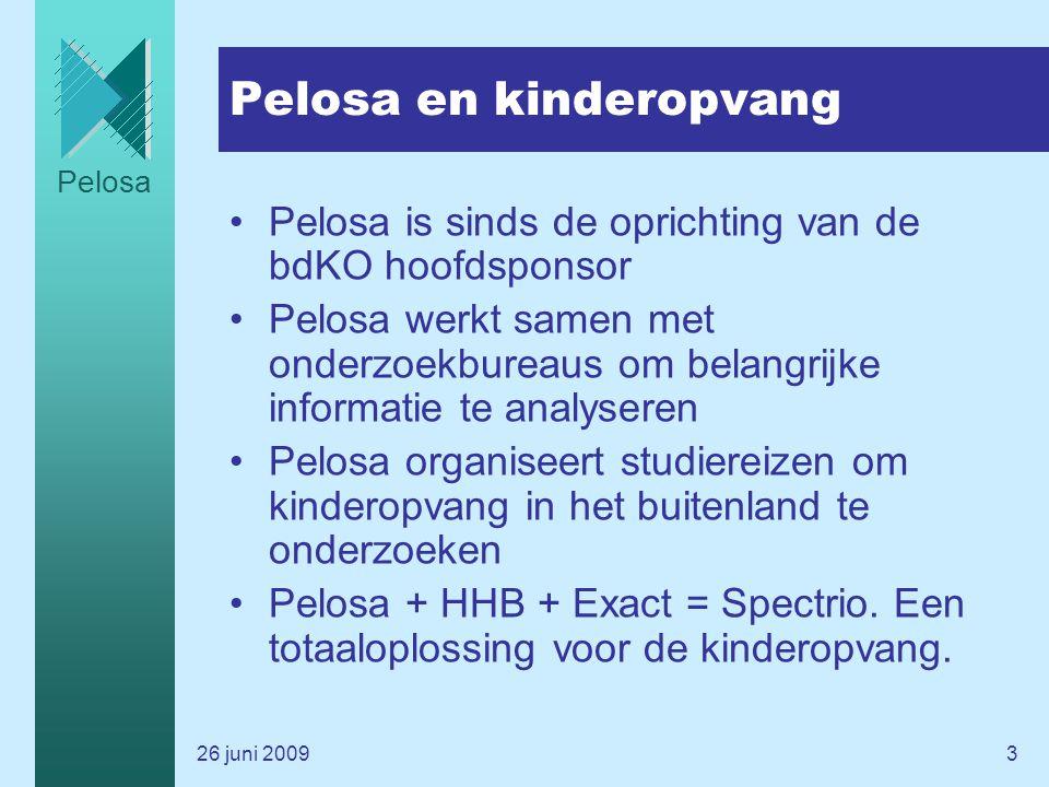 Pelosa 26 juni 20093 Pelosa en kinderopvang Pelosa is sinds de oprichting van de bdKO hoofdsponsor Pelosa werkt samen met onderzoekbureaus om belangrijke informatie te analyseren Pelosa organiseert studiereizen om kinderopvang in het buitenland te onderzoeken Pelosa + HHB + Exact = Spectrio.