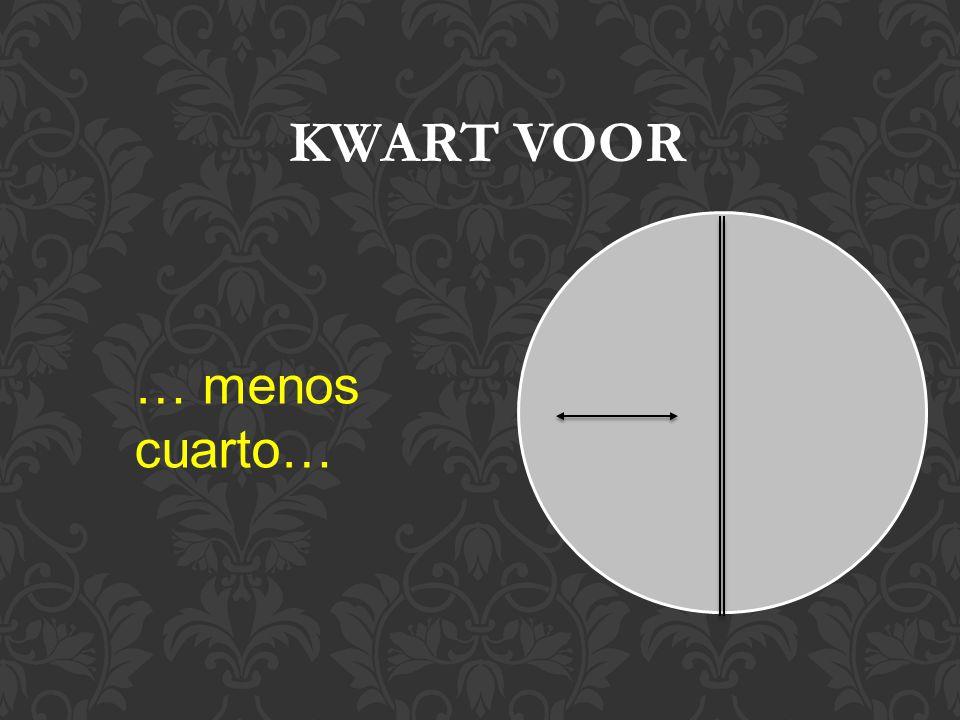 … menos cuarto… KWART VOOR