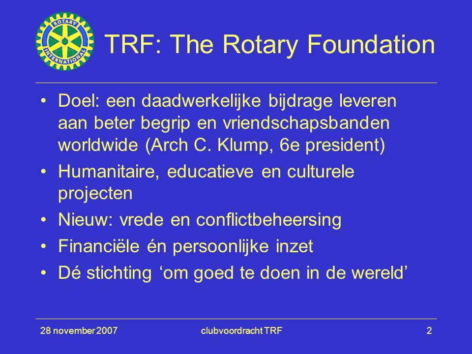 28 november 2007clubvoordracht TRF2 TRF: The Rotary Foundation Doel: een daadwerkelijke bijdrage leveren aan beter begrip en vriendschapsbanden worldwide (Arch C.