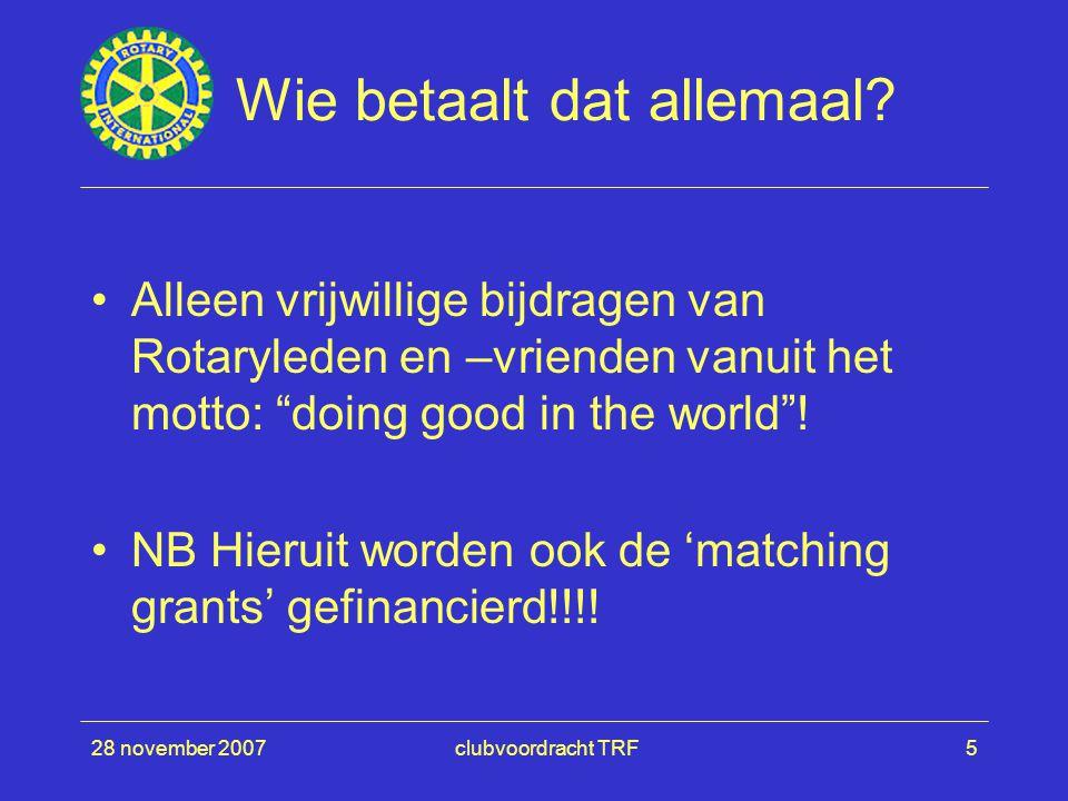 """28 november 2007clubvoordracht TRF5 Wie betaalt dat allemaal? Alleen vrijwillige bijdragen van Rotaryleden en –vrienden vanuit het motto: """"doing good"""