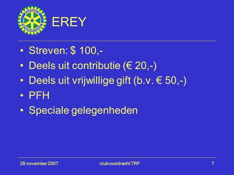 28 november 2007clubvoordracht TRF7 EREY Streven: $ 100,- Deels uit contributie (€ 20,-) Deels uit vrijwillige gift (b.v. € 50,-) PFH Speciale gelegen