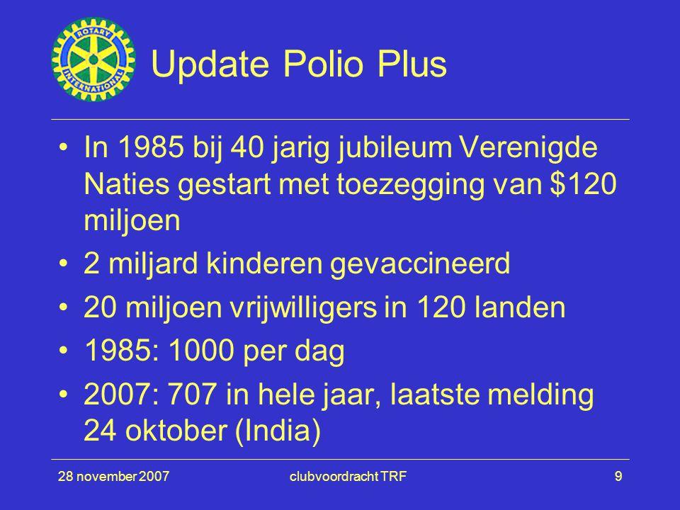 28 november 2007clubvoordracht TRF9 Update Polio Plus In 1985 bij 40 jarig jubileum Verenigde Naties gestart met toezegging van $120 miljoen 2 miljard kinderen gevaccineerd 20 miljoen vrijwilligers in 120 landen 1985: 1000 per dag 2007: 707 in hele jaar, laatste melding 24 oktober (India)