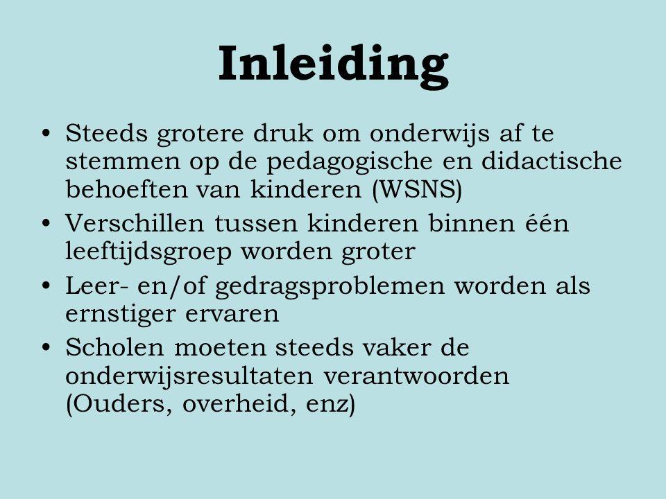 Inleiding Steeds grotere druk om onderwijs af te stemmen op de pedagogische en didactische behoeften van kinderen (WSNS) Verschillen tussen kinderen b