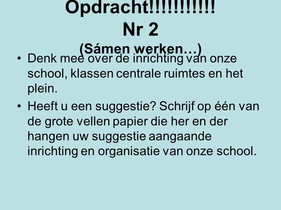 Opdracht!!!!!!!!!!! Nr 2 (Sámen werken…) Denk mee over de inrichting van onze school, klassen centrale ruimtes en het plein. Heeft u een suggestie? Sc