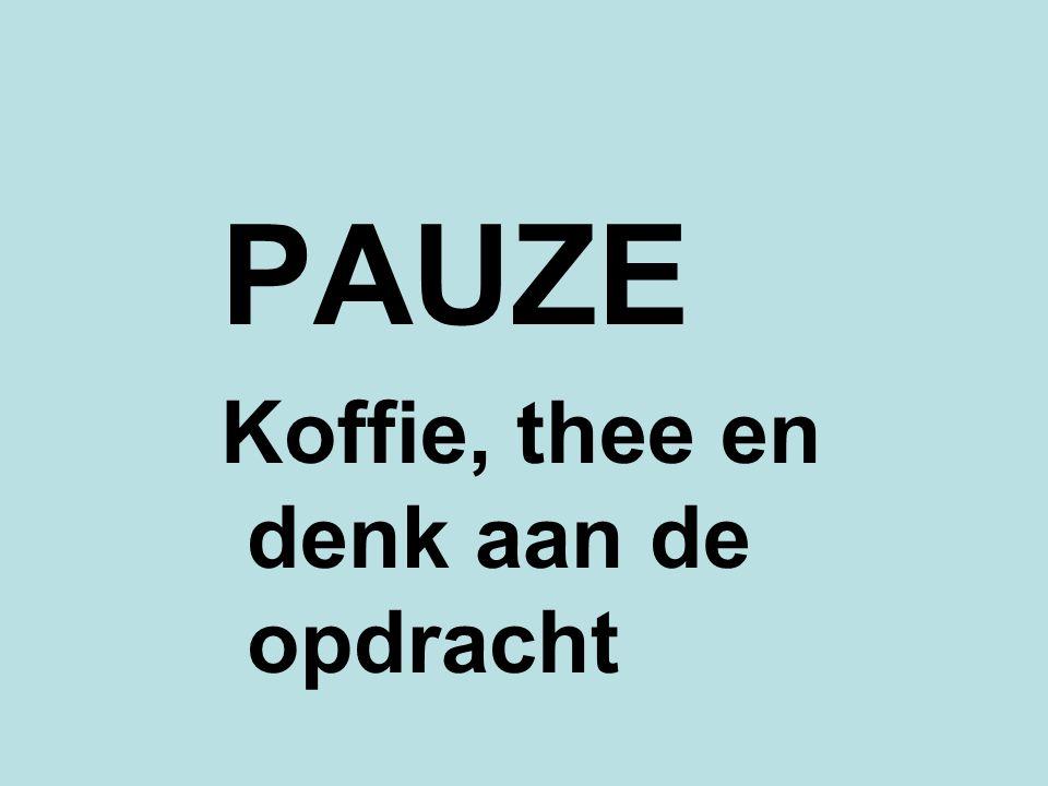 PAUZE Koffie, thee en denk aan de opdracht