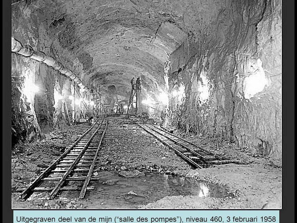 Uitgegraven deel van de mijn ( salle des pompes ), niveau 460, 3 februari 1958