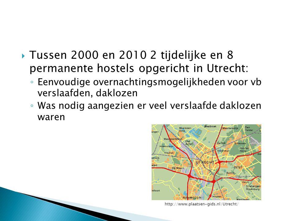  Tussen 2000 en 2010 2 tijdelijke en 8 permanente hostels opgericht in Utrecht: ◦ Eenvoudige overnachtingsmogelijkheden voor vb verslaafden, daklozen ◦ Was nodig aangezien er veel verslaafde daklozen waren http://www.plaatsen-gids.nl/Utrecht/